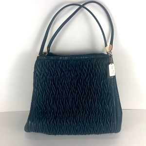 Coach green leather chevron quilted bag